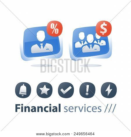 Corporate service, mutual fund management, financial account, small and big company, growth and consolidation, single entrepreneur, business acquisition, training course, investor dividend, flat icons stock photo
