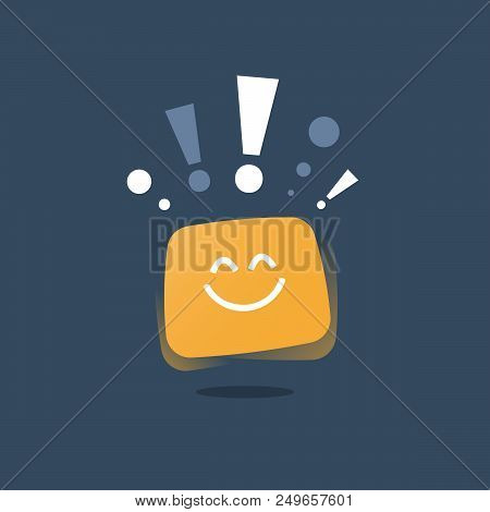 Positive thinking, express emotion, good experience feedback, happy client, service quality, optimism attitude concept, enjoy yourself, empathy vector icon stock photo