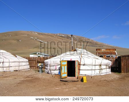 Traditional dwelling of Mongolian nomadic yurt in May stock photo