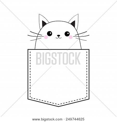 Cat in the pocket. Doodle linear sketch. Pink cheeks. Cute cartoon animals. Kitten kitty character. Dash line. Pet animal. White and black color. T-shirt design. Baby background. Isolated. Flat Vector stock photo