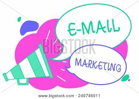 Writing note showing E Mail Marketing. Business photo showcasing E-commerce Advertising Online sales Newsletters Promotion Creative multiple bubble cloudy curly design text lines messages idea stock photo
