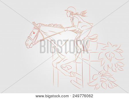 Beautiful girl at show jumping competition. Equestrian sport. Horsewoman and a horse are jumping over an obstacle, realistic outline vector illustration, light background. stock photo