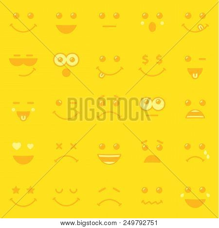 Yellow pattern template of line art emoticons or emoji icons. Happy yellow smiley in a flat design of World Emoji Day on yellow background. Vector emoticon joy icons stock photo