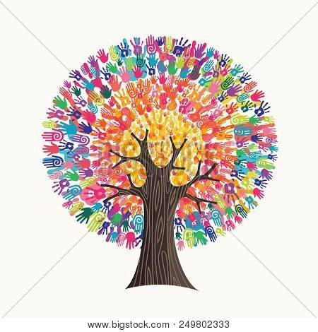 Tree Made Of Colorful Human Hands In Branches Creates A Vibrant Colors Sun. Community Help Concept,