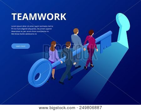 Isometric Business Success Key Concept. Business teamwork key of success concept. Group of people lifting key to success. Vector illustration stock photo