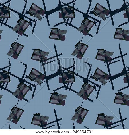 Military camouflage seamless pattern in shades of green and dusty blue colors. Square grid UFO camo repeat background. Usable as urban camoflauge textile print, ornament, backdrop, wallpaper etc. stock photo