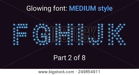 Blue Glowing font in the Outline style. Vector Alphabet with Connections, Lines, Polygonal structure and Glowing knots. Medium style, part 2 with uppercase letters F G H I J K stock photo