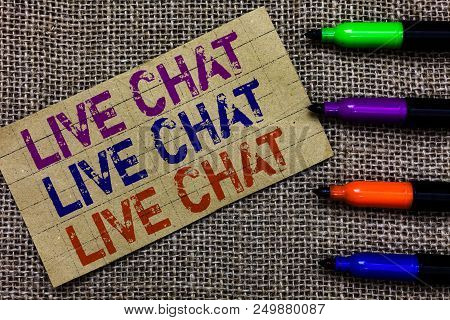 Handwriting text writing Live Chat Live Chat Live Chat. Concept meaning talking with people friends relatives online Paperboard computer mouse jute background Expressing ideas typing needs stock photo