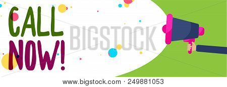 Handwriting text Call Now. Concept meaning To immediately contact a person using telecom devices with accuracy Man holding Megaphone loudspeaker screaming talk colorful speech bubble stock photo