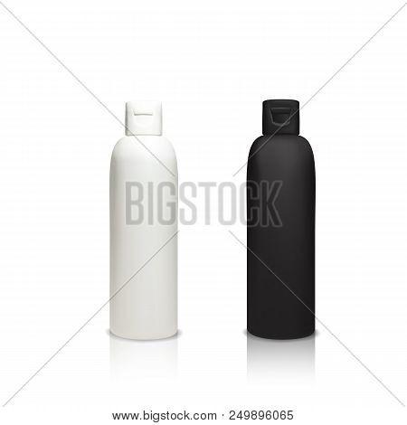 Cosmetic plastic bottles vector illustration of 3d realistic containers for shower gel, shampoo or lotion and cream or face cleaner and liquid soap. Isolated black and white opaque mockup models stock photo