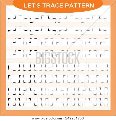 Tracing Lines Activity For Early Years. Special for preschool kids. Worksheet for practicing fine motor skills Tracing dashed lines. Improving skills tasks. Complete the pattern. Orange Vector stock photo