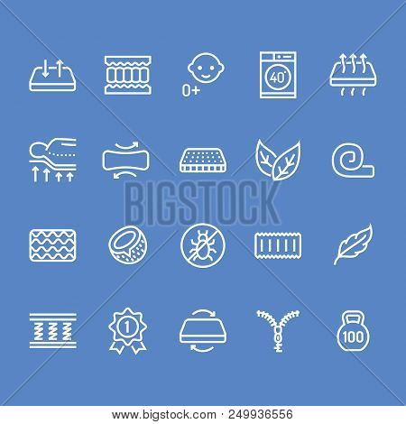 Orthopedic mattress flat line icons. Mattresses properties - anti dust mite, spine support, washable cover, breathable, memory foam, bedding illustrations. Pixel perfect 48x48. Editable Strokes. stock photo