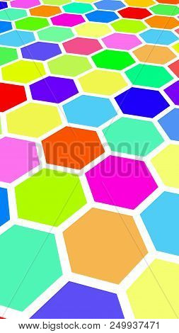 Honeycomb multi-colored. Perspective view on polygon look like honeycomb. Wavy surface. Isometric geometry. 3D illustration stock photo