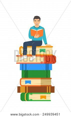 Young asian boy student reads open book sitting on stack of giant books. High school education concept. Vector cartoon illustration. Exam preparation using paper book. Modern well-educated youth stock photo