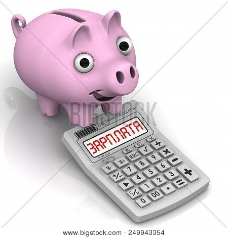 Piggy bank and calculator with SALARY word. Satisfied pig-piggy bank and a calculator with the word SALARY (Russian language). Isolated. 3D Illustration stock photo