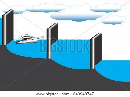 The physical experiment of one of the laws of hydrostatics is the law of communicating vessels, as exemplified by the operation of locks for the movement of maritime transport. stock photo