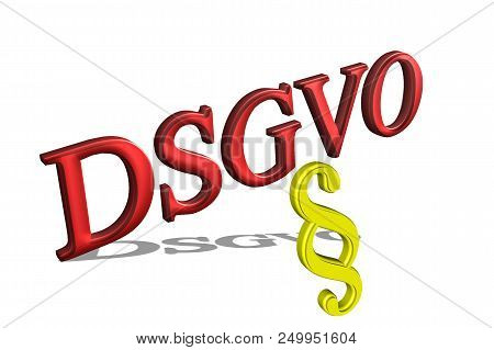 DSGVO Basic Data Protection Regulation, concept in 3D with shadow stock photo