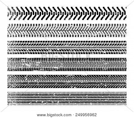 Tire tracks set. Black impressions left by vehicle tires on the surface. Vector flat style cartoon illustration isolated on white background stock photo