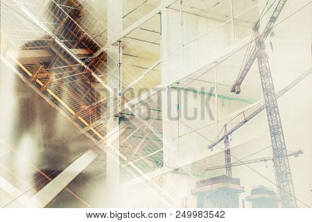 Exploitation of workers in construction industry, conceptual double exposure image with silhouette of masculine man overlaying building site with scaffolding. stock photo