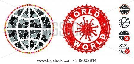 Mosaic world icon and red round rubber stamp seal with World caption and coronavirus symbol. Mosaic vector is formed with world icon and with scattered round spots. World stamp seal uses red color, stock photo