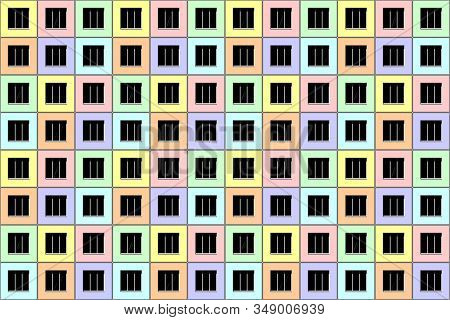Seamless architectural pattern. Abstract facade. Windows and wall of modern apartment house. Vector illustration. stock photo