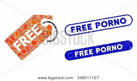 Mosaic free tag and rubber stamp seals with Free Porno phrase. Mosaic vector free tag is designed with scattered rectangle items. Free Porno stamp seals use blue color, and have round rectangle shape. stock photo