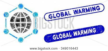 Collage global frame and corroded stamp seals with Global Warming phrase. Mosaic vector global frame is formed with random rectangle items. Global Warming stamp seals use blue color, stock photo