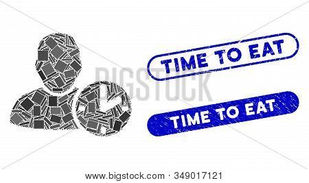 Mosaic user time and rubber stamp seals with Time to Eat caption. Mosaic vector user time is formed with scattered rectangle items. Time to Eat stamp seals use blue color, stock photo