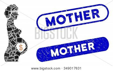 Mosaic surrogate mother and distressed stamp seals with Mother caption. Mosaic vector surrogate mother is formed with random rectangles. Mother stamp seals use blue color, stock photo