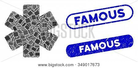 Mosaic multiply math operation and grunge stamp seals with Famous phrase. Mosaic vector multiply math operation is formed with randomized rectangle items. Famous seals use blue color, stock photo