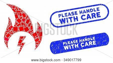 Mosaic electric fire and rubber stamp seals with Please Handle with Care text. Mosaic vector electric fire is formed with random rectangle items. Please Handle with Care stamp seals use blue color, stock photo