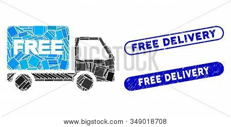 Mosaic free delivery car and corroded stamp seals with Free Delivery phrase. Mosaic vector free delivery car is designed with randomized rectangle items. Free Delivery stamps use blue color, stock photo