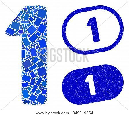 Mosaic 1 digit and distressed stamp seals with 1 text. Mosaic vector 1 digit is designed with random rectangle items. 1 stamp seals use blue color, and have round rectangle shape. stock photo