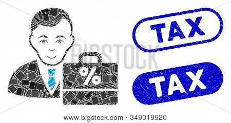 Mosaic tax accounter and distressed stamp watermarks with Tax text. Mosaic vector tax accounter is designed with randomized rectangle items. Tax stamp seals use blue color, stock photo