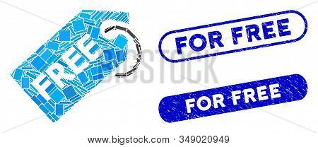 Mosaic free tag and distressed stamp seals with For Free phrase. Mosaic vector free tag is formed with randomized rectangles. For Free stamp seals use blue color, and have round rectangle shape. stock photo