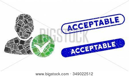 Mosaic valid user and rubber stamp seals with Acceptable text. Mosaic vector valid user is designed with random rectangle items. Acceptable seals use blue color, and have round rectangle shape. stock photo