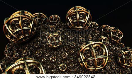 Abstract background 3D, fantastic ancient civilization architecture, gold render illustration. stock photo