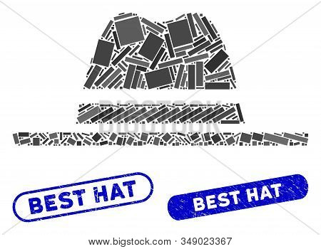 Mosaic hat and corroded stamp seals with Best Hat phrase. Mosaic vector hat is composed with scattered rectangles. Best Hat stamp seals use blue color, and have round rectangle shape. stock photo