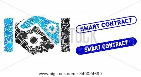Mosaic smart contract handshake and grunge stamp seals with Smart Contract phrase. Mosaic vector smart contract handshake is designed with random rectangles. Smart Contract stamp seals use blue color, stock photo