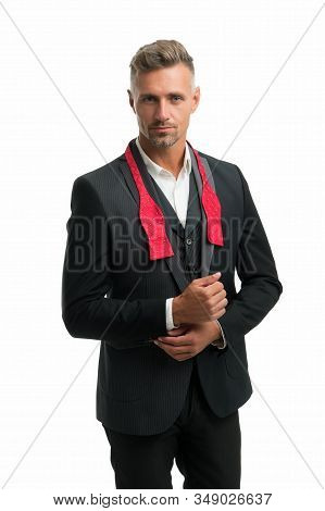 Elegant accessory. Tailored suit. Fashion shop. Rent suit service. Elegant fashion outfit. Gentleman modern style. Well groomed handsome man wear tuxedo. Fashion clothes. Suit for special occasion. stock photo