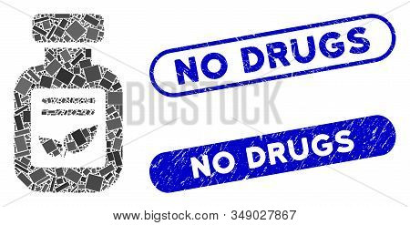 Mosaic natural drugs vial and grunge stamp watermarks with No Drugs caption. Mosaic vector natural drugs vial is formed with scattered rectangle items. No Drugs stamp seals use blue color, stock photo