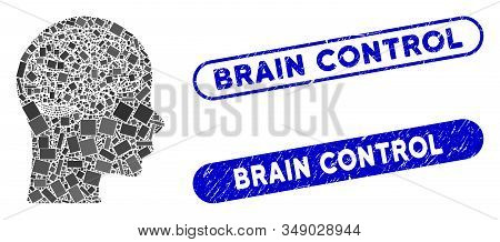 Mosaic brain and rubber stamp watermarks with Brain Control phrase. Mosaic vector brain is composed with randomized rectangle items. Brain Control stamp seals use blue color, stock photo