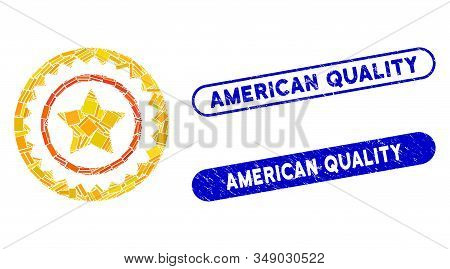 Mosaic quality stamp and grunge stamp seals with American Quality phrase. Mosaic vector quality stamp is composed with scattered rectangle items. American Quality seals use blue color, stock photo