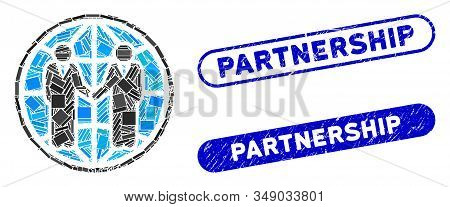 Mosaic global partnership and distressed stamp seals with Partnership phrase. Mosaic vector global partnership is created with scattered rectangle items. Partnership stamp seals use blue color, stock photo