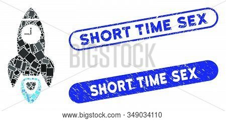 Mosaic space rocket time and grunge stamp seals with Short Time Sex text. Mosaic vector space rocket time is formed with randomized rectangles. Short Time Sex stamp seals use blue color, stock photo