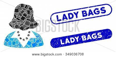 Mosaic lady and corroded stamp seals with Lady Bags phrase. Mosaic vector lady is composed with random rectangle items. Lady Bags stamp seals use blue color, and have round rectangle shape. stock photo