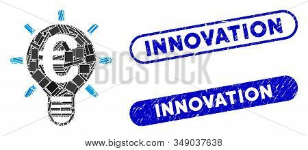 Mosaic Euro innovation and corroded stamp seals with Innovation caption. Mosaic vector Euro innovation is formed with random rectangle items. Innovation stamp seals use blue color, stock photo