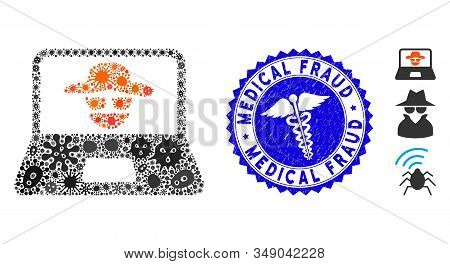 Flu mosaic cyber crime icon and rounded corroded stamp watermark with Medical Fraud caption and health care icon. Mosaic vector is formed with cyber crime icon and with randomized viral icons. stock photo
