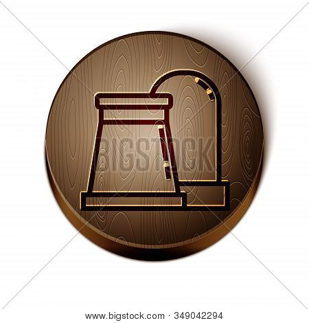 Brown line Oil and gas industrial factory building icon isolated on white background. Wooden circle button. Vector Illustration stock photo