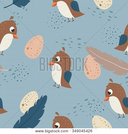 Vector seamless pattern Cute quail with egg, Adorable little quail seamless pattern. Vector cute animal background stock photo